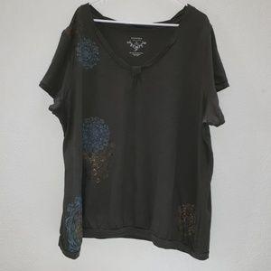 Green kaleidoscope print T-shirt